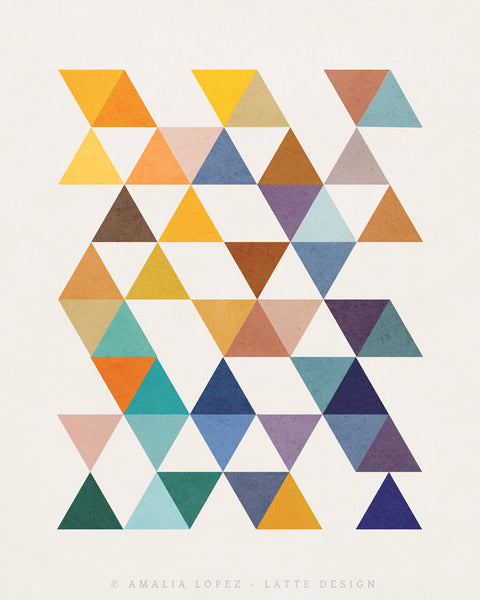 Triangles 6. Mid-century Geometric print. LD10004 - Latte Design  - 3