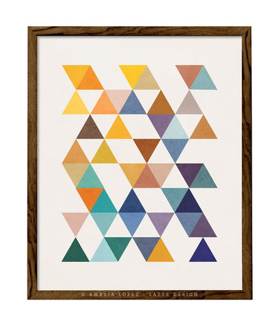Triangles 6. Mid-century Geometric print. LD10004 - Latte Design  - 1