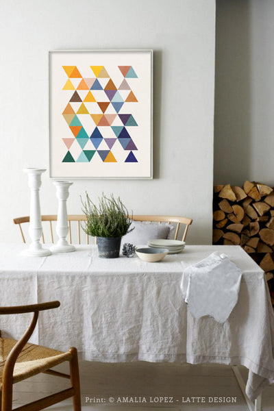 Triangles 6. Mid-century Geometric print. LD10004 - Latte Design  - 2
