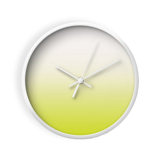 Chartreuse green ombre wall clock - Latte Design  - 2