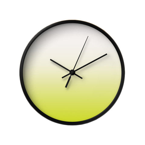 Chartreuse green ombre wall clock - Latte Design