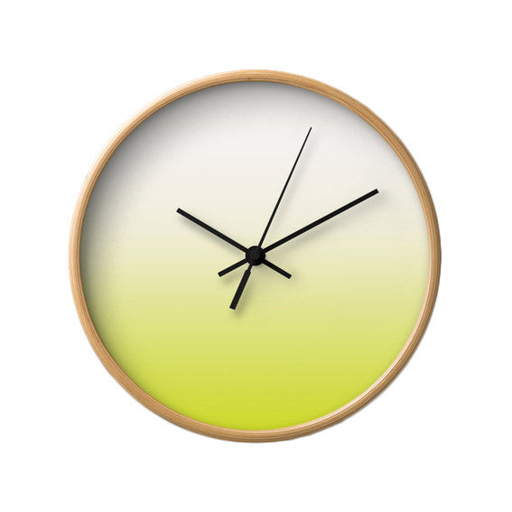 Chartreuse green ombre wall clock - Latte Design  - 3