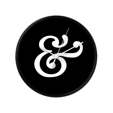 Ampersand wall clock. Black and white typography clock - Latte Design