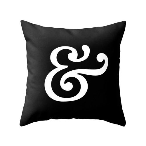 Ampersand pillow. Black typography pillow - Latte Design  - 1