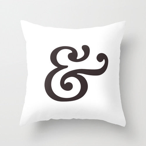 Ampersand pillow. Black typography pillow - Latte Design  - 3