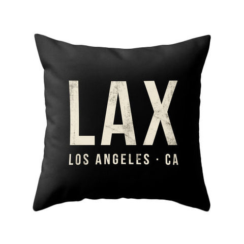 Los Angeles airport pillow black home decor lax throw pillow Los Angeles pillow lax cushion lax pillow cover jfk airport lax airport - Latte Design  - 1