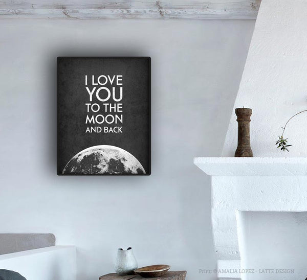 I Love You to the Moon and Back. Black and white print - Latte Design  - 3