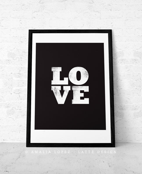Love print. Black typographic - Latte Design  - 1
