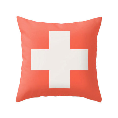 Coral red Swiss Cross cushion - Latte Design