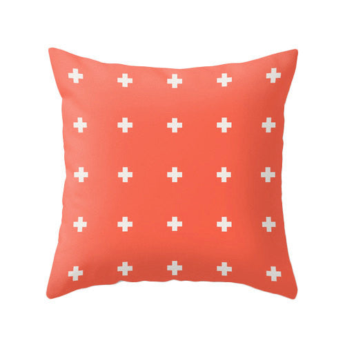 Coral red Swiss Cross pillow - Latte Design  - 2