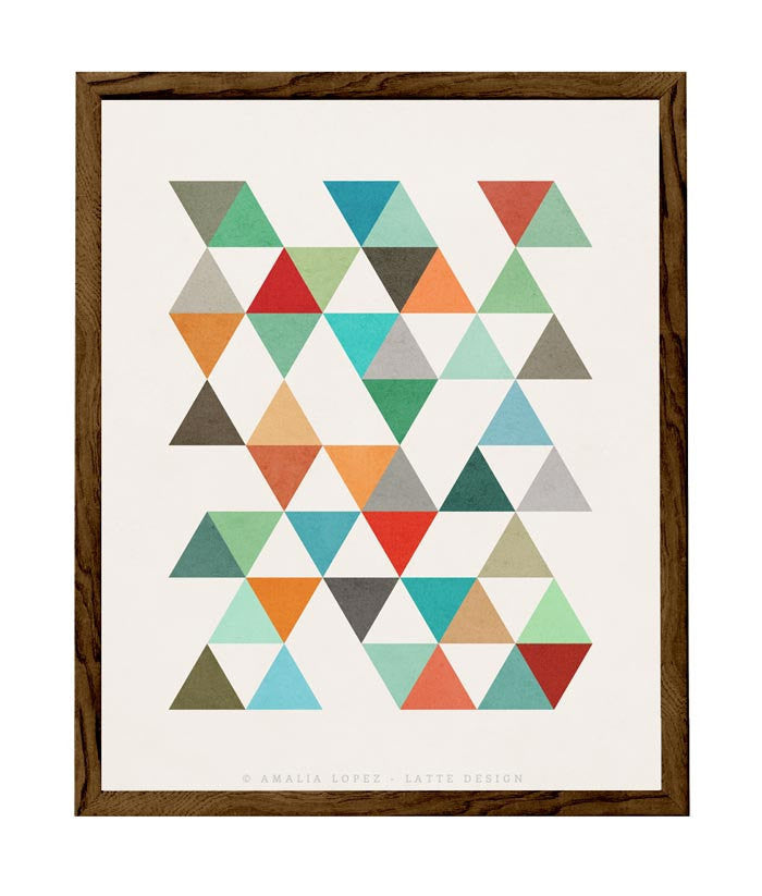 Triangles 8. Mid-century Geometric print. LD10003 - Latte Design  - 1