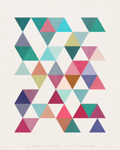 Triangles 5. Mid-century Geometric print. 10001 - Latte Design  - 4
