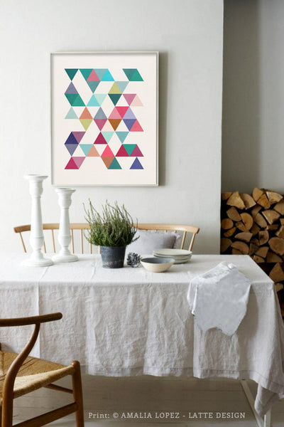 Triangles 5. Mid-century Geometric print. 10001 - Latte Design  - 3