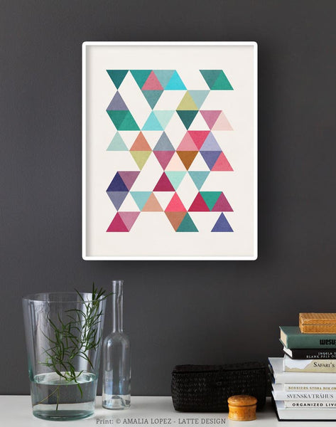 Triangles 5. Mid-century Geometric print. 10001 - Latte Design  - 2