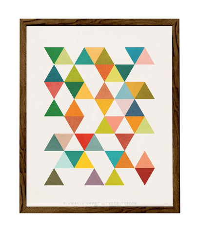 Triangles 7. Mid-century Geometric print. LD10005 - Latte Design  - 1