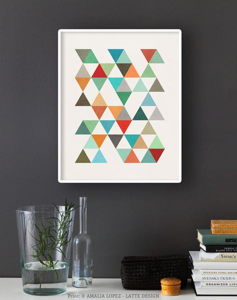 Triangles 8. Mid-century Geometric print. LD10003 - Latte Design  - 2