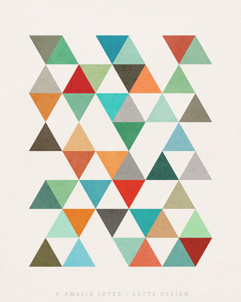 Triangles 8. Mid-century Geometric print. LD10003 - Latte Design  - 4