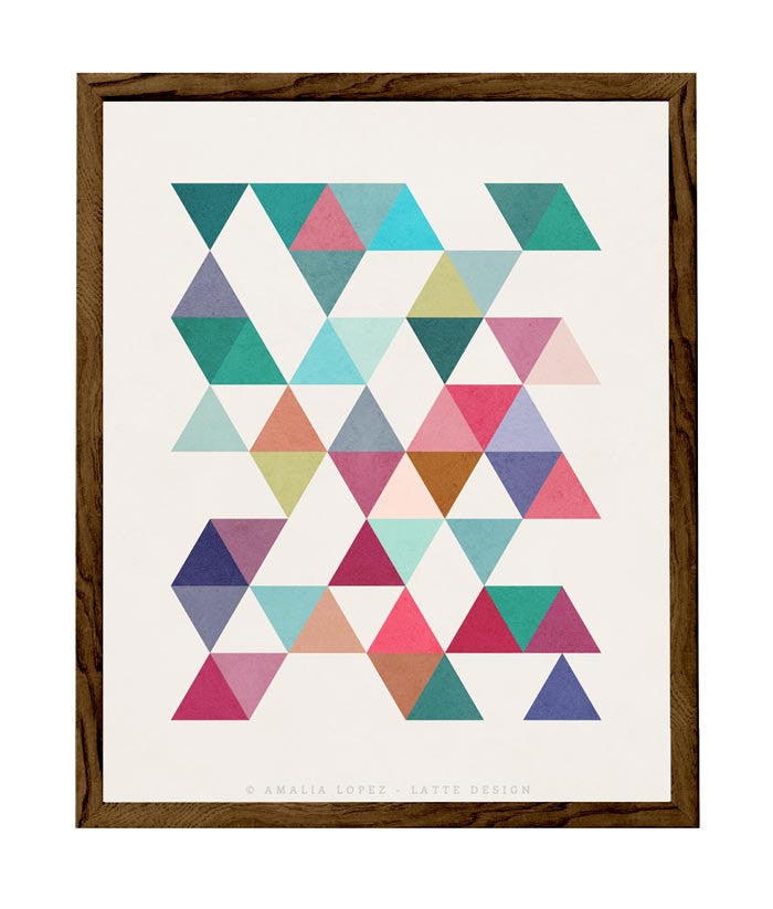 Triangles 5. Mid-century Geometric print. 10001 - Latte Design  - 1