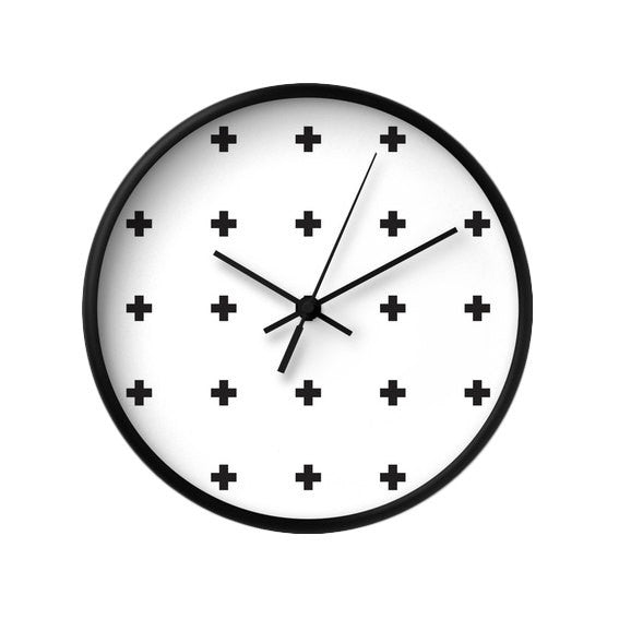 Swiss cross black and white wall clock - Latte Design  - 1