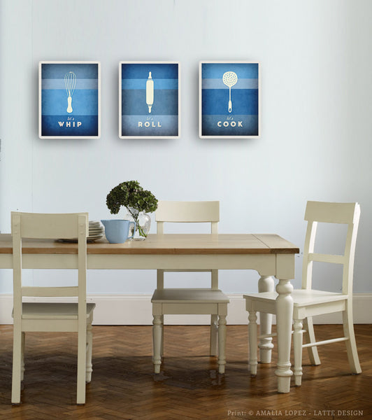 Set of 3 PRINTS. Blue kitchen prints - Latte Design  - 2