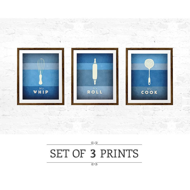 Set of 3 PRINTS. Blue kitchen prints - Latte Design  - 1