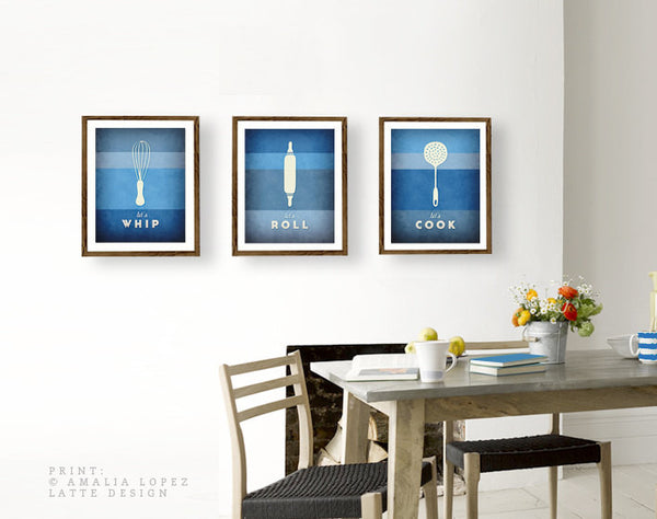 Set of 3 PRINTS. Blue kitchen prints - Latte Design  - 3