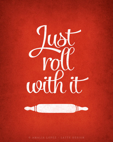 Set of TWO red kitchen prints: Just roll with it & Whip it good - Latte Design  - 5