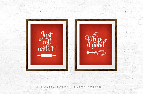 Set of TWO red kitchen prints: Just roll with it & Whip it good - Latte Design  - 1
