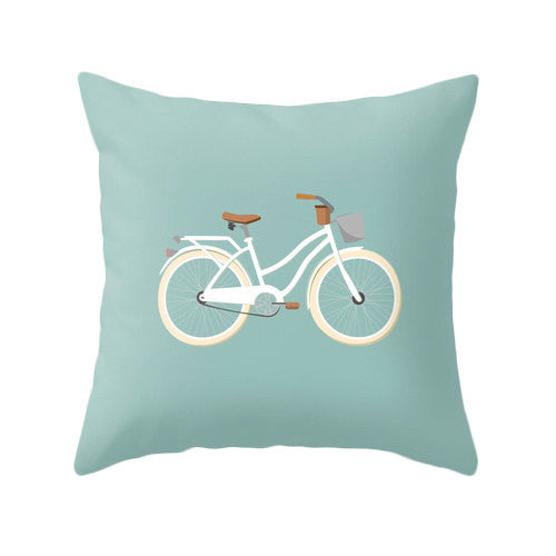 Green Bike nursery Cushion - Latte Design  - 3