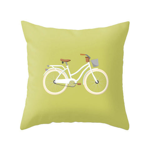 Green Bike nursery Cushion - Latte Design  - 1