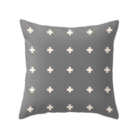 Swiss cross pillow cover Charcoal grey and cream swiss cross pillow Charcoal grey cushion Charcoal grey pillow cross cushion grey decor - Latte Design  - 1