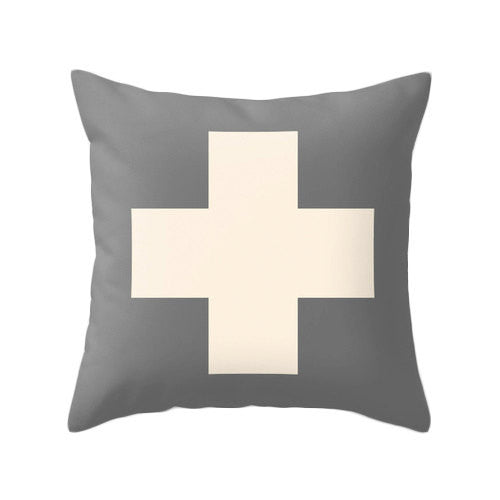Swiss cross pillow cover Charcoal grey and cream swiss cross pillow Charcoal grey cushion Charcoal grey pillow cross cushion grey decor - Latte Design  - 2