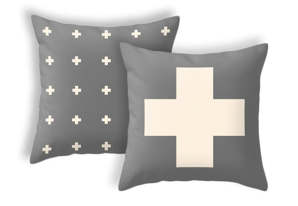 Swiss cross pillow cover Charcoal grey and cream swiss cross pillow Charcoal grey cushion Charcoal grey pillow cross cushion grey decor - Latte Design  - 3