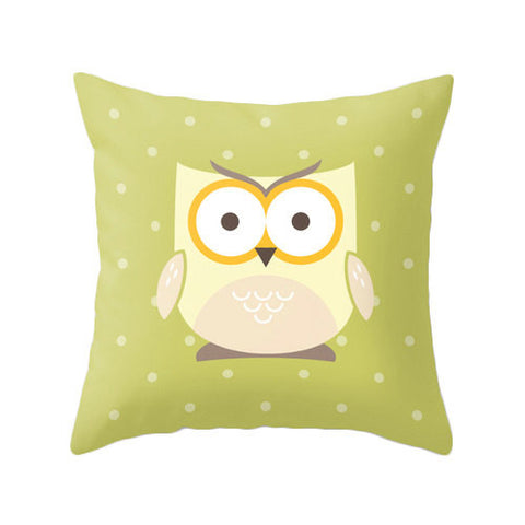 Owl pillow cover. Nursery pillow Nursery owl decor baby owl decor Nursery owl pillow green nursery pillow green Nursery cushion owl cushion - Latte Design  - 1