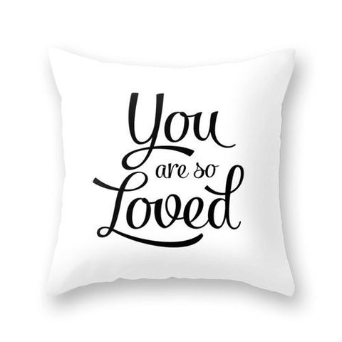 You are so loved cushion. White - Latte Design  - 1