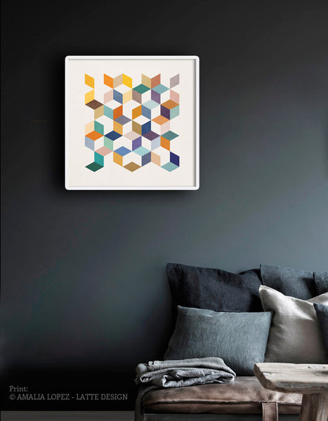 Geometric 2. Geometric print in orange and teal shades - Latte Design  - 2
