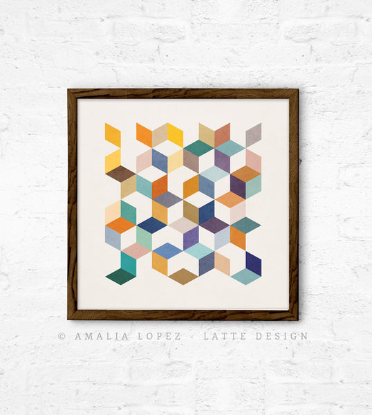 Geometric 2. Geometric print in orange and teal shades - Latte Design  - 6