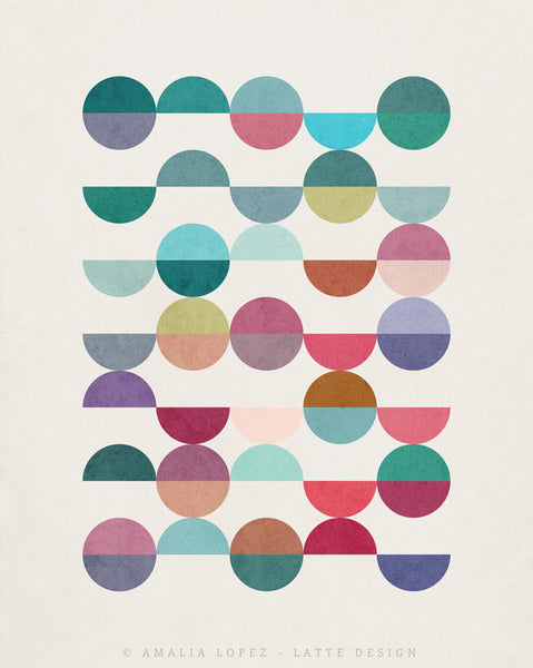 Equal Parts 1. Geometric print in teal and pink shades - Latte Design  - 4