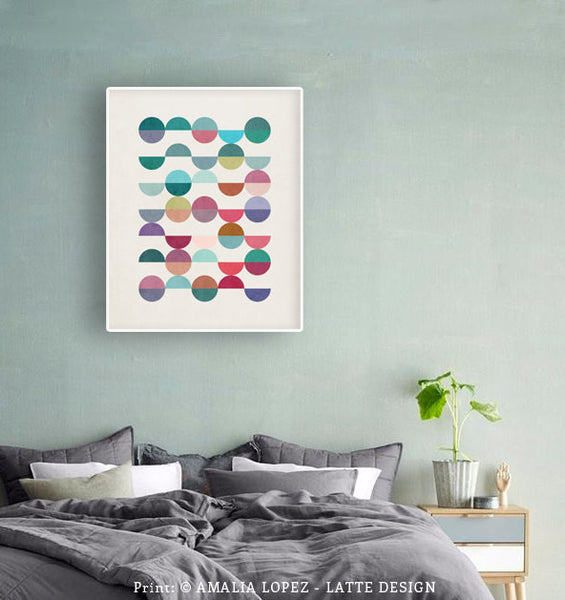 Equal Parts 1. Geometric print in teal and pink shades - Latte Design  - 3