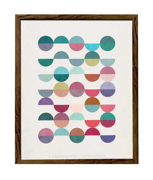 Equal Parts 1. Geometric print in teal and pink shades - Latte Design  - 1