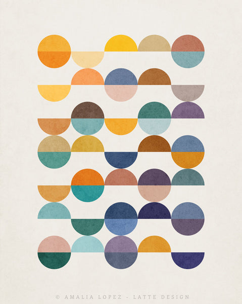 Equal Parts 2. Geometric print in orange and teal shades - Latte Design  - 4