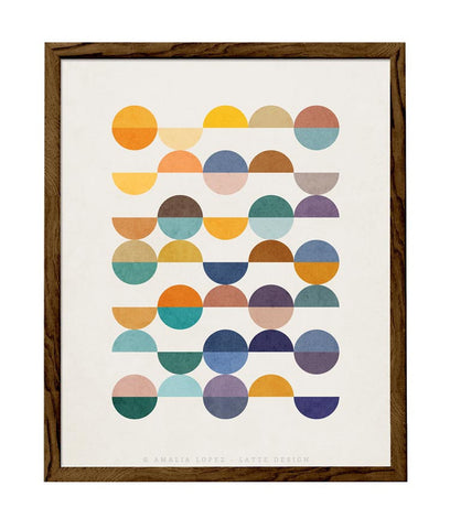 Equal Parts 2. Geometric print in orange and teal shades - Latte Design  - 1