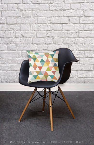 Triangles 3. Geometric pillow - Latte Design  - 4