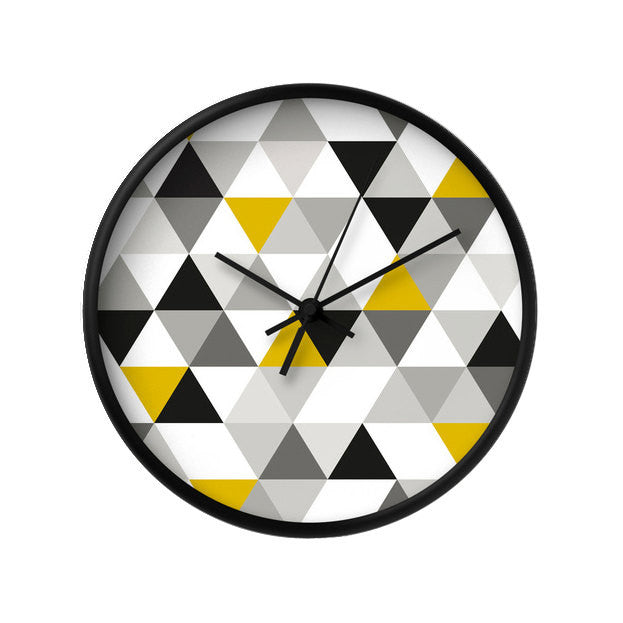 Black, white and yellow Geometric wall clock - Latte Design