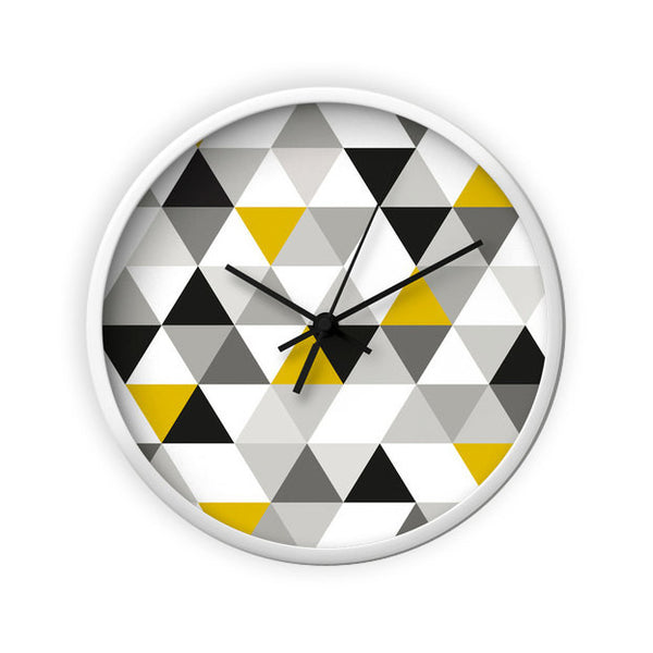 Black, white and yellow Geometric wall clock - Latte Design  - 3