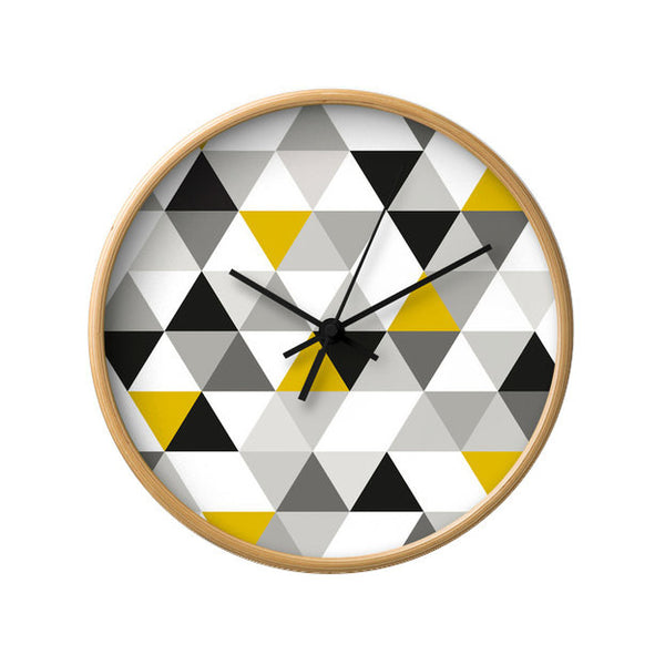 Black, white and yellow Geometric wall clock - Latte Design  - 2