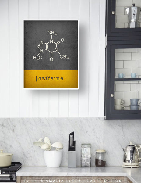 Caffeine molecule print. Grey and yellow Coffee print - Latte Design  - 4