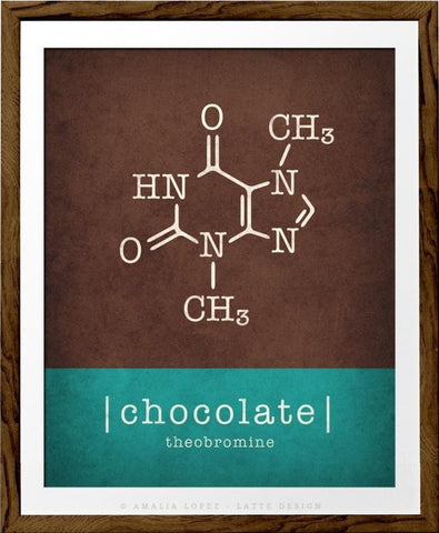 Chocolate molecule print. Typography teal print - Latte Design  - 1
