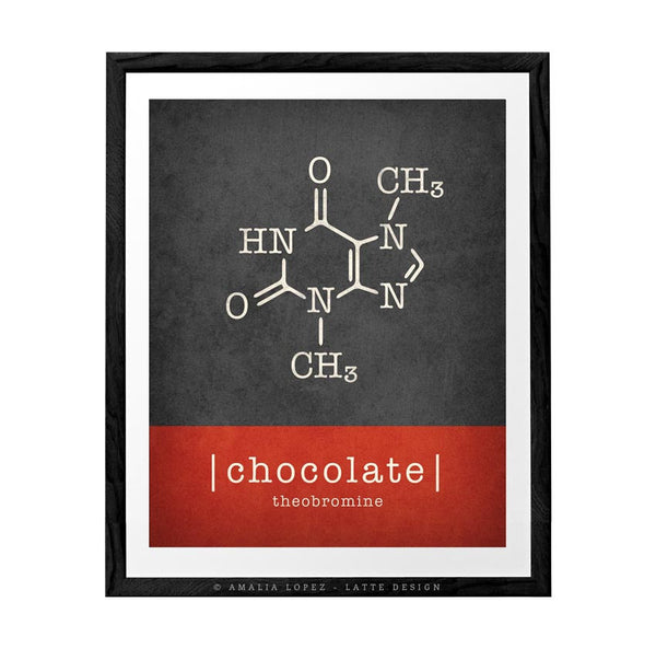 Chocolate molecule print. Typography teal print - Latte Design  - 2