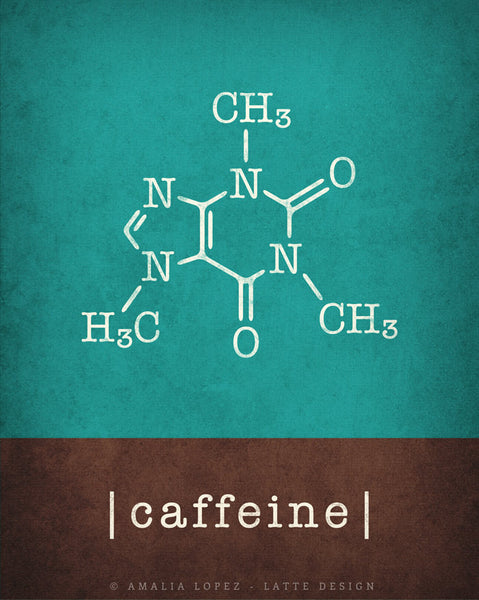 Set of 2 kitchen prints. Caffeine molecule & chocolate molecule. Teal & Brown - Latte Design  - 6